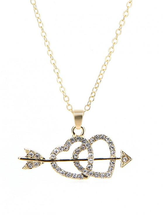 affordable Rhinestone Inlaid Heart Arrow Necklace - GOLD
