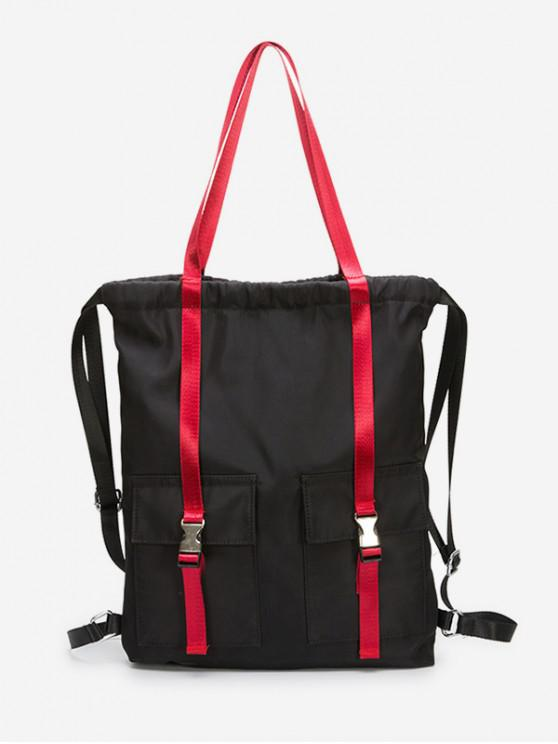 hot Large Capacity String Design Student Backpack - RED