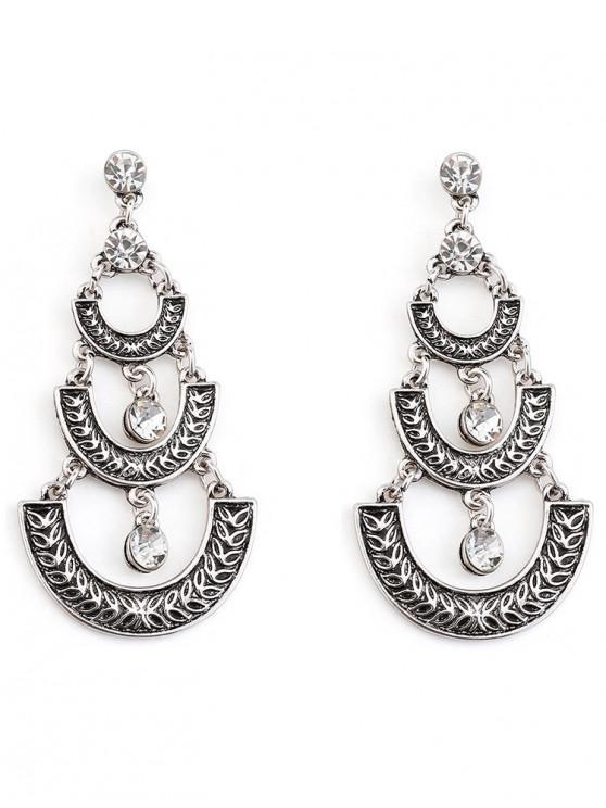 women Bohemian Geometric Tassel Dangle Earrings - SILVER