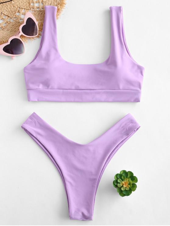 Bikini de Corte Alto con Escote Redondo ZAFUL - Color de malva M