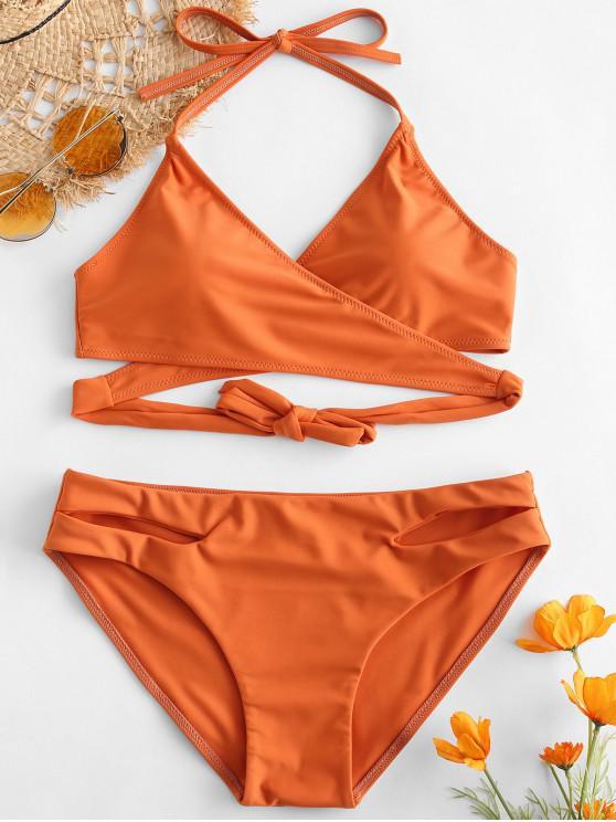 ZAFUL Halter Cut Out Wrap Bikini Set - Naranja Oscuro S