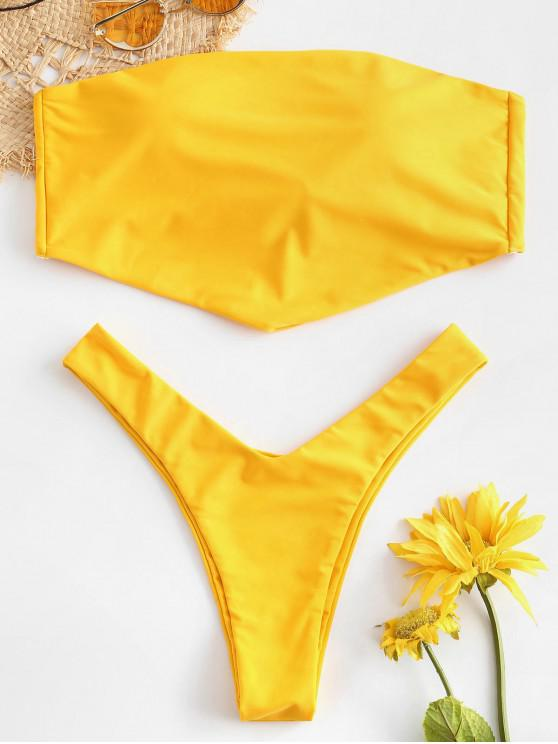 lady ZAFUL Tie Back Asymmetrical Bandeau Bikini Set - BRIGHT YELLOW L