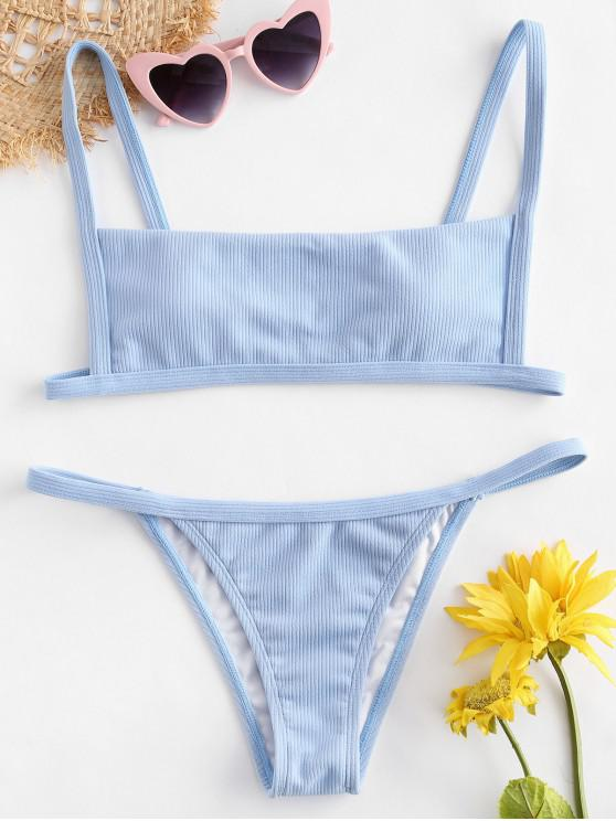 affordable Ribbed Hook String Bikini Set - LIGHT BLUE S