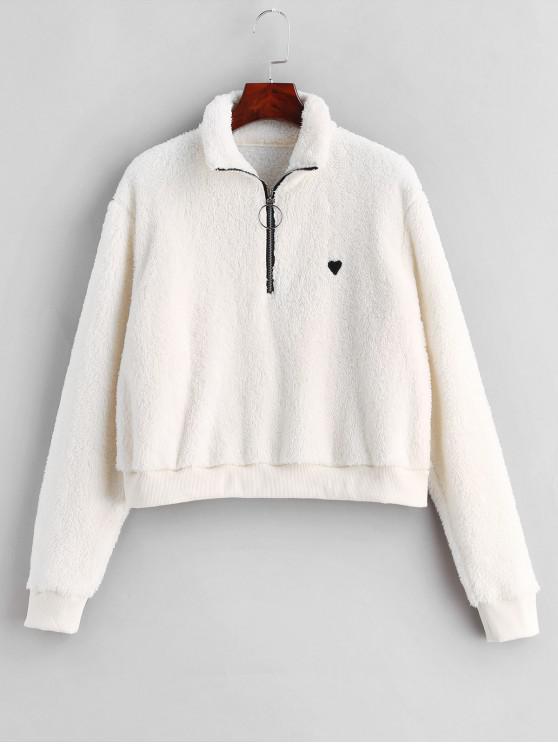women's ZAFUL Half Zip Heart Embroidered Fluffy Teddy Sweatshirt - WHITE L