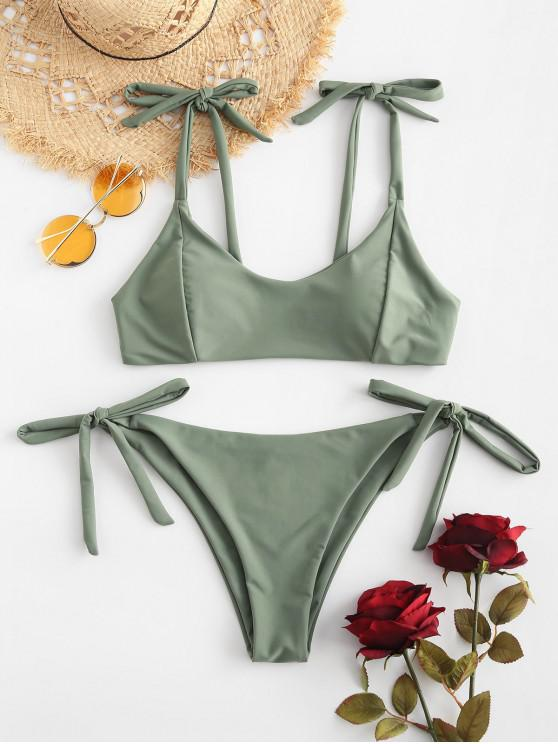 sale ZAFUL Tied Low Waisted Bikini Set - CAMOUFLAGE GREEN M