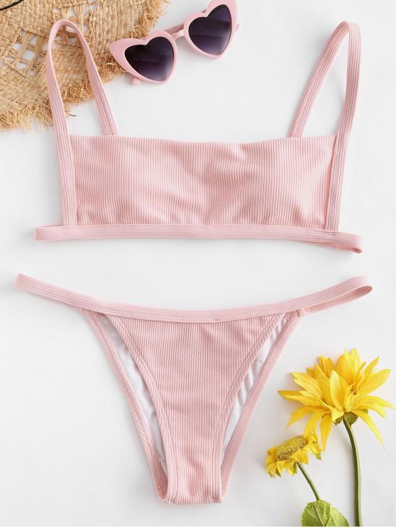 chic Ribbed Hook String Bikini Set - PIG PINK M