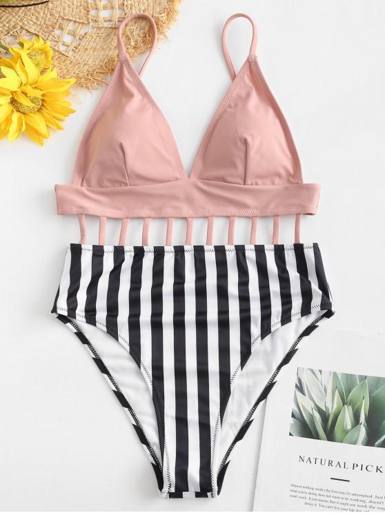 shop ZAFUL Striped Lattice Backless Swimsuit - PINK M
