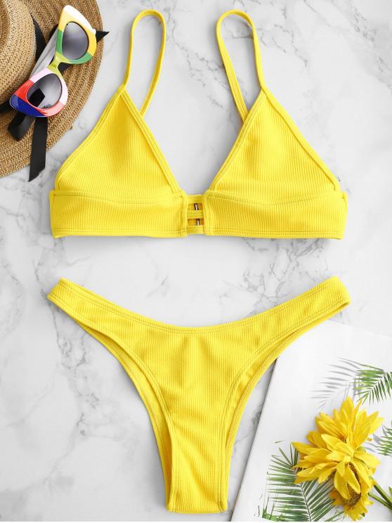 Bikini de Bralette de celosía acanalada ZAFUL - Amarillo Brillante S