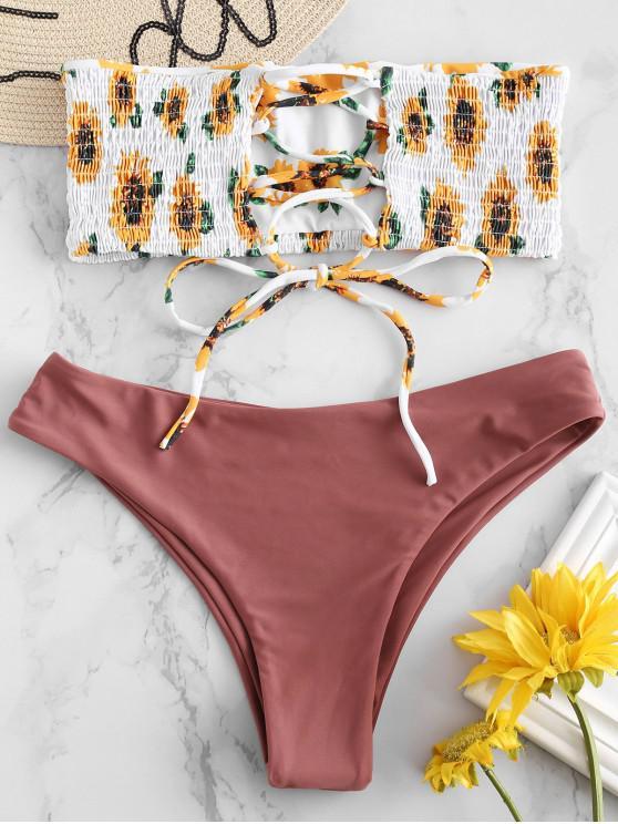 fashion ZAFUL Sunflower Lace-up Smocked Bikini Set - ROSY FINCH L