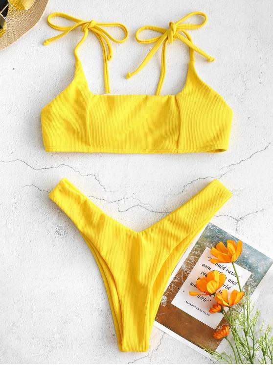 unique ZAFUL Tie Shoulders Ribbed Bikini Set - RUBBER DUCKY YELLOW L