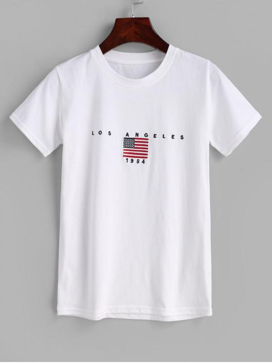 shops Flag Embroidered Graphic T-shirt - WHITE ONE SIZE