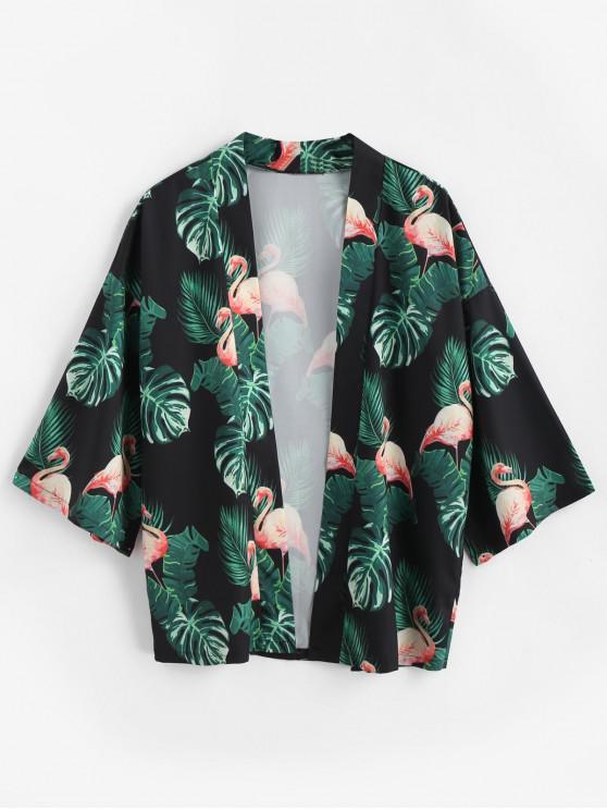 women Flamingo Open Kimono Cardigan - BLACK S