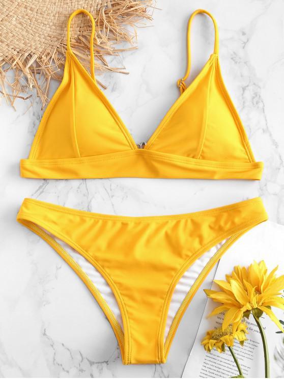 unique ZAFUL Padding Bikini Set - RUBBER DUCKY YELLOW M