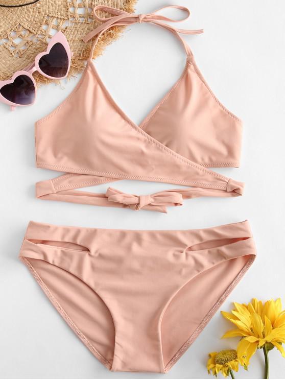ZAFUL căpăstru Cut Out Wrap Bikini Set - Deep Peach L