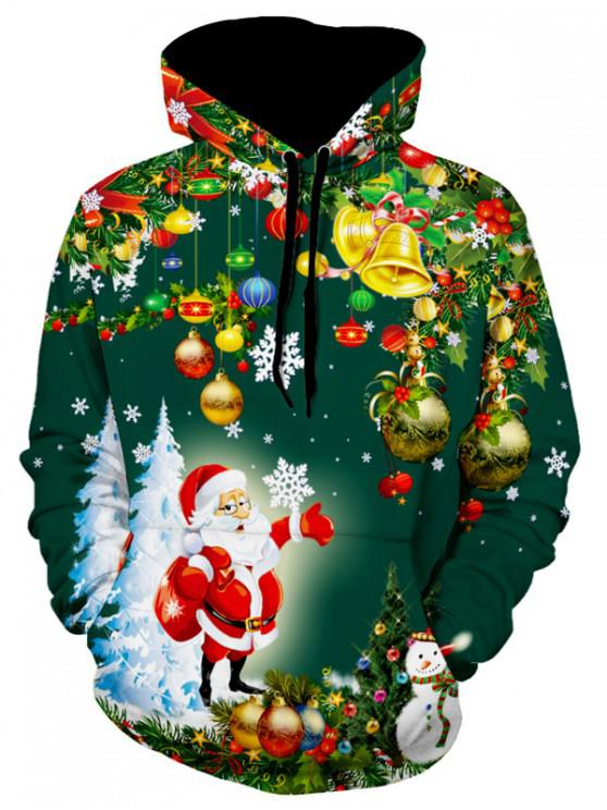 womens Santa Christmas Tree Jingle Bells Christmas Hoodie - DARK FOREST GREEN S