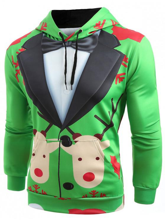 online Christmas Faux Suit Print Pullover Hoodie - SHAMROCK GREEN 3XL