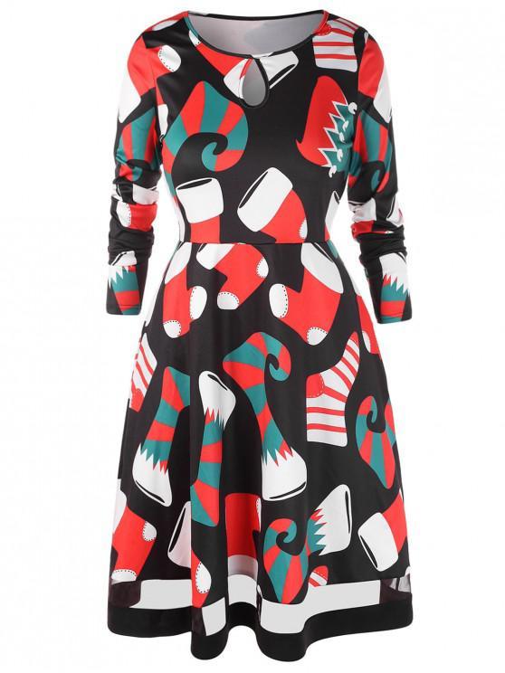 outfits Plus Size Christmas Socks Print A Line Dress - BLACK 2X