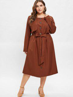 ZAFUL Plus Size Midi Shirt Dress With Belt - Brown 2x