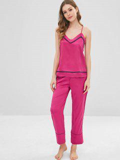 Ensemble De Pyjama Haut à Bretelle En Satin Et Pantalon - Rouge Rose Xl