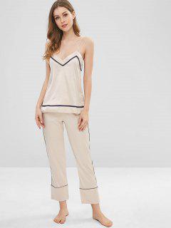 Satin Cami Pajamas Top And Pants Set - Apricot Xl