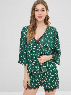 Conjunto De Pijamas De Satén Con Estampado De Plumas Y Encaje - Verde Oscuro Xl