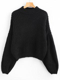 Loose Knit Balloon Sleeve Sweater - Black