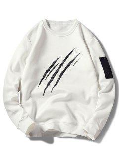 Claws Mark Print Pullover Sweatshirt - White M