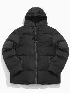 Solid Zipper Drawstring Hoodie Parka Coat - Black Xs