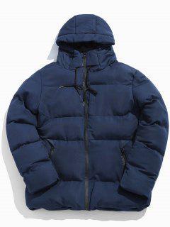 Solid Zipper Drawstring Hoodie Parka Coat - Navy Blue M