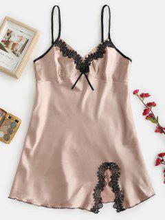 Robe Pyjama Fendue Au Crochet Avec Nœud Papillon - Champagne M