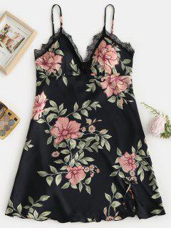 Robe Pyjama à Bretelle Fleur En Dentelle Insérée - Noir 2xl