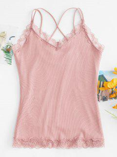 Criss Cross Lace Hem Fleece Lined Cami Top - Pink