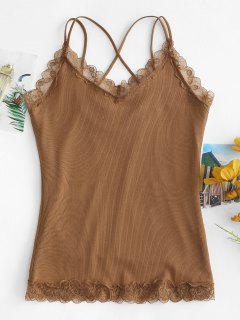 Criss Cross Lace Hem Fleece Forrado Cami Top - Marrón