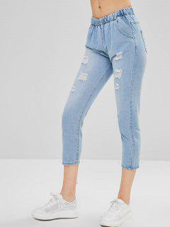 Distressed Ninth Straight Jeans - Jeans Blue L