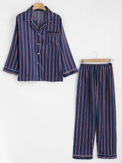Ensemble Pyjama Soyeux Et Pantalon Rayé - Bleu Cadette M
