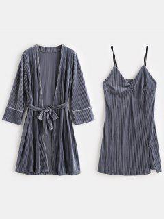 Vestido De Lencería Con Abertura De Terciopelo Y Bata De Dormir - Gris Azulado M