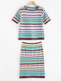 Colorful Striped Knitted Skirt Set - Multi-a