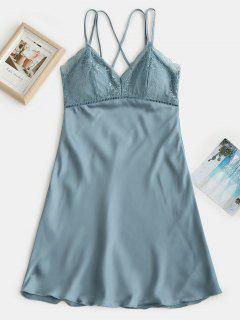 Lace Insert Padded Slip Pajama Dress - Blue Koi Xl