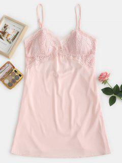 Robe De Pyjama à Empiècements En Dentelle Matelassée - Rose Cochon M