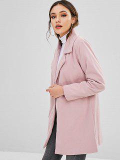 Snap Button Lapel Wool Blend Coat - Light Pink S