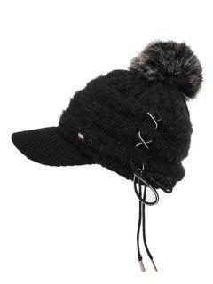 Winter Fuzzy Ball Knitted Baseball Cap - Black