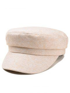 Outdoor Solid Color Flat Top Military Hat - Beige