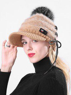Winter Fuzzy Ball Knitted Baseball Cap - Caramel