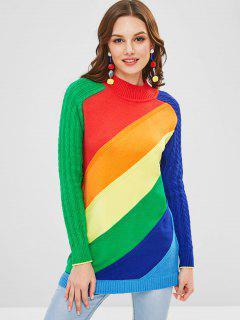 Suéter De Punto Color Block Arco Iris Con Cable - Multicolor