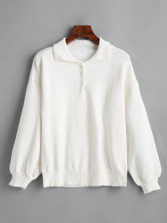 Lantern Sleeve Half Buttoned Sweater - White