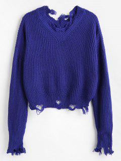 Suéter De Cuello V Destrozado Suelto - Azul Profundo