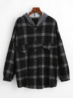 Contrast Snap Button Plaid Wool Blend Coat - Black M