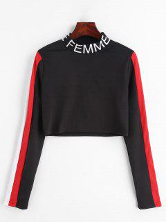 Femme Graphic Color Block Crop Top - Black L