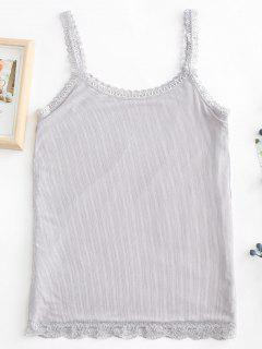 Encaje Dobladillo Fleece Forrado Cami Top - Gris