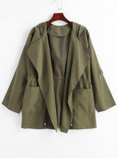 Hooded Drawstring Tunic Coat With Pocket - Army Green Xl